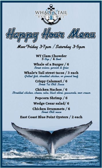 Dollardining whales tail happy hour food menu